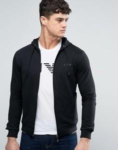 Черный худи на молнии классического кроя с логотипом Armani Jeans - Черный