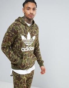 Камуфляжный худи adidas Originals BK5884 - Зеленый