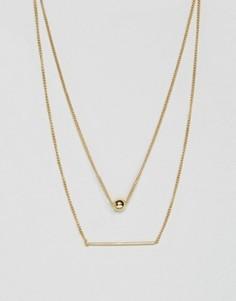 Позолоченное ожерелье в несколько рядов Pieces Hilli - Золотой
