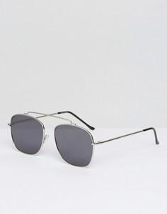 Серебристые солнцезащитные очки-авиаторы с черными стеклами Spitfire Beta - Серебряный