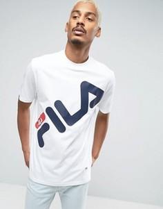 Черная футболка с большим логотипом Fila - Белый