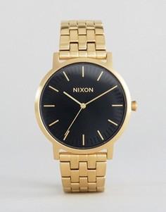 Часы с черным циферблатом Nixon Porter - Золотой