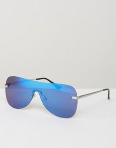 Солнцезащитные очки-маска в стиле ретро с синими стеклами ASOS - Серебряный
