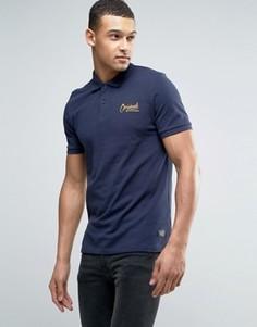 Футболка-поло с логотипом на груди Jack & Jones Originals - Темно-синий