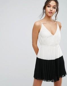 Плиссированное платье мини на бретельках в стиле колор блок ASOS - Мульти