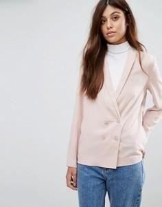 Креповый двубортный блейзер New Look - Розовый