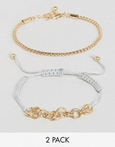 2 браслета (из цепочки/из шнура) ASOS - Золотой