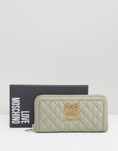 Стеганый кошелек Love Moschino - Серый