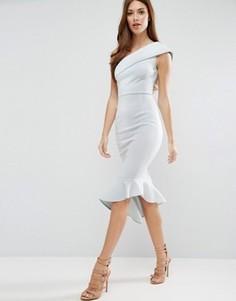 Платье миди на одно плечо с баской ASOS Scuba - Синий
