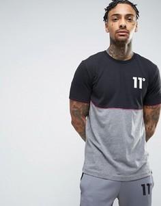 Серая футболка со вставкой и логотипом 11 Degrees - Серый