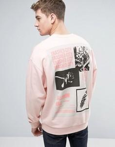 Oversize-свитшот с принтом на спине ASOS - Розовый