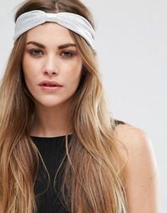Повязка на голову с эффектом металлик и узелком Glamorous - Серебряный