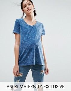 Мраморная футболка для беременных ASOS Maternity - Синий