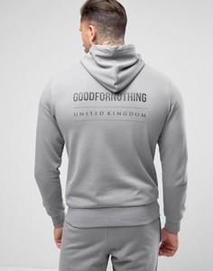 Худи обтягивающего кроя из серого трикотажа с принтом на спине Good For Nothing - Серый