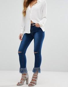 Зауженные джинсы с бахромой по нижнему краю Boohoo - Синий