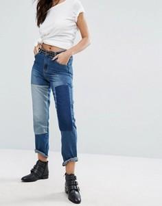 Прямые джинсы в стиле пэчворк Boohoo - Синий