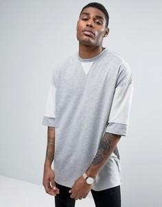 Плотная oversize-рубашка с контрастными рукавами ASOS - Серый