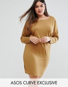 Платье со спущенными рукавами летучая мышь ASOS CURVE - Бежевый