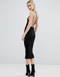 Платье миди в рубчик с перекрестной спинкой ASOS - Черный