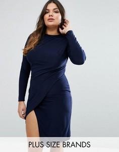 Платье с запахом Club L Plus - Темно-синий