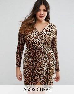 Платье-футляр с леопардовым принтом и запахом Club L Plus - Мульти