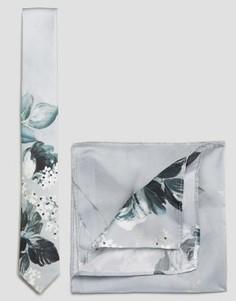 Шелковые галстук и платок для нагрудного кармана с цветочным принтом ASOS WEDDING - Синий