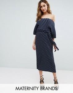 Плиссированное платье миди в горошек New Look Maternity - Синий