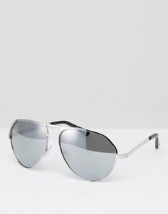 Классические солнцезащитные очки-авиаторы с серебристыми зеркальными стеклами Jeepers Peepers - Серебряный