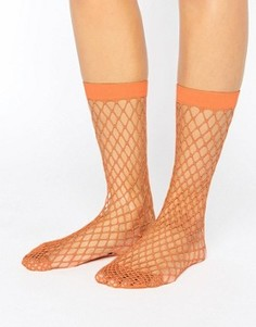 Носки персикового цвета в крупную сетку ASOS - Оранжевый