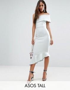Платье миди на одно плечо с оборкой по подолу ASOS TALL - Синий