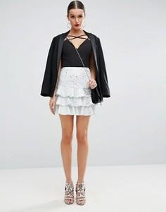 Мини-юбка с пайетками ASOS Rara - Белый