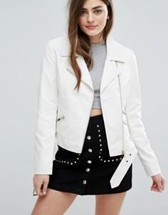 Байкерская куртка из кожзаменителя New Look - Кремовый