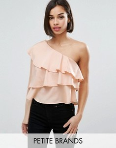 Топ на одно плечо с оборками Boohoo Petite - Розовый