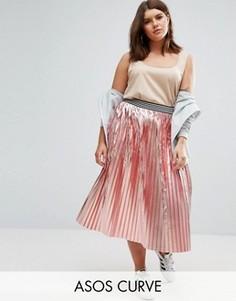 Плиссированная юбка с эффектом металлик и спортивным поясом ASOS CURVE - Розовый