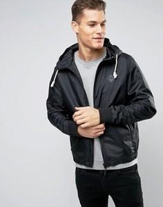 Нейлоновая куртка на молнии с капюшоном Blend - Черный