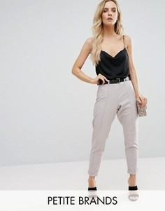 Строгие укороченные брюки Boohoo Petite - Серый
