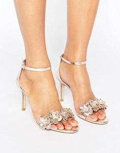 Босоножки на каблуке с аппликацией Dune Magnolea - Серебряный