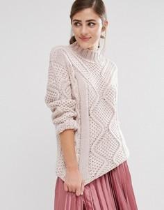 Вязаный джемпер с отворачивающимся воротником Fashion Union - Розовый