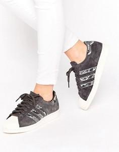 Черные кроссовки с имитацией змеиной кожи adidas Originals Superstar - Черный