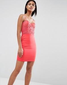 Платье с кружевной отделкой AX Paris - Розовый