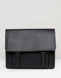 Черный портфель из искусственной кожи с карманом спереди ASOS - Черный