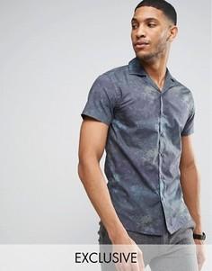 Приталенная рубашка с гавайским принтом и воротником в виде лацканов Noak - Темно-синий