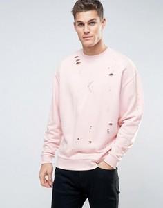 Розовый oversize-свитшот с рваной отделкой ASOS - Розовый