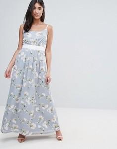 Платье макси с цветочным принтом и контрастным поясом Uttam Boutique - Зеленый
