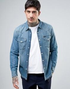 Приталенная джинсовая рубашка в стиле вестерн Lee - Синий