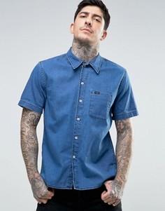 Джинсовая рубашка классического кроя с коротким рукавами Lee - Синий