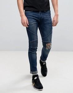 Рваные байкерские джинсы скинни Religion - Синий
