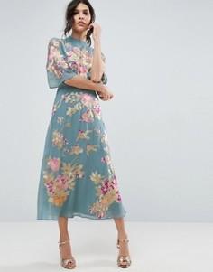 Платье миди с цветочной вышивкой ASOS PREMIUM - Зеленый