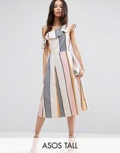 Платье-сарафан на одно плечо из натурального волокна с оборками ASOS TALL - Мульти