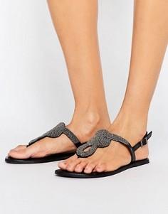 Кожаные сандалии с отделкой Pieces Carmen - Черный